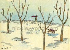 Etsy の Original ACEO Painting Snow walk by PainterNik