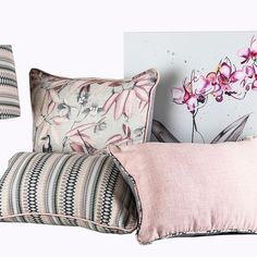Custsomised aampshade, scatter cushion and paintings from Chic Republic Interiors