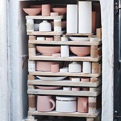 An older kiln pack previously unposted here in full. These three colours, the white and two shades of pink will turn into grey celadon crackles and greens and blues. I miss firing this kiln and this type of work, it's been a while now, almost seven months. I've had my hand in other methods though, in Japan I spent months learning how to glaze and fire in both the oribe and shino types, both vastly different in comparison to the ways I've worked before. Not only how they're fired, which is…