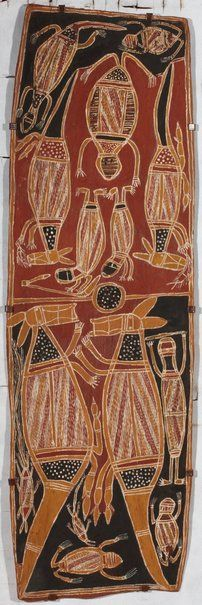 KUNST ABORIGINES /Wulaki story - Garrtjambal (Kangaroo) c. 1965 | Central Arnhem Land → Northern Territory → Australia | Bark painting