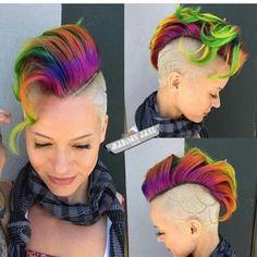 Ideas Hair Rainbow Short Pixie Cuts Source by Short Pixie, Short Hair Cuts, Short Hair Styles, Pixie Cuts, Shaved Hair Designs, Alternative Hair, Hair Tattoos, Bright Hair, Funky Hairstyles