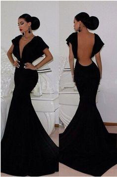 sexy black mermaid deep v neck capped backless evening dresses 2015 new hot sale formal - Αναζήτηση Google