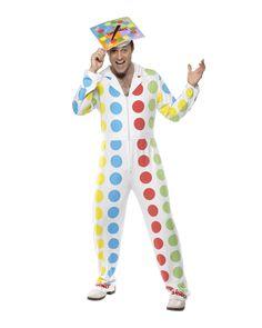 Een twister kostuum voor mannen. Dit twister kostuum voor mannen is een wit kostuum met gekleurde stippen en bestaat uit een volledig pak en een hoedje. Dit twister kostuum is ook als jurkje voor vrouwen verkrijgbaar. One Size Fits All, valt ongeveer als M/L. Carnavalskleding 2015 #carnaval