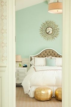 22 Romantic Bedrooms - I like the colours in this room... And I bet you like the gold!