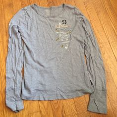 Light grey long sleeve shirt with beading detail Grey long sleeve cotton t shirt American eagle with small detail American Eagle Outfitters Tops Tees - Long Sleeve