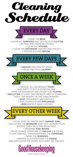 Good Housekeeping Cleaning Schedule - Use our weekly to-do schedule to keep on top of everyday household cleaning chores