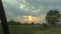 Sunset with electric tower