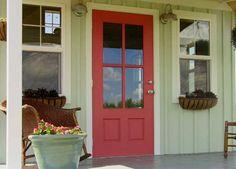 pink front door decoration