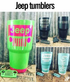 I want one, to match my Jeep, of course. Diy Tumblers, Custom Tumblers, Glitter Tumblers, Jeep Wrangler Accessories, Jeep Accessories, Jeep Decals, Jeep Stickers, Jeep Baby, Custom Cups