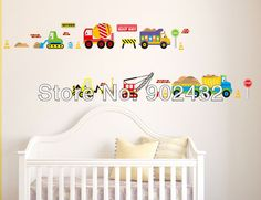 2013 New removable vinyl wall stickers trucks and cranes home decor wall decals for kids room JM8269-in Wall Stickers from Home  Garden on Aliexpress.com $5.99