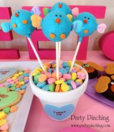 holiday, valentine treats, valentine day, bird cake, food, cake pops, cakepop, birds, parti
