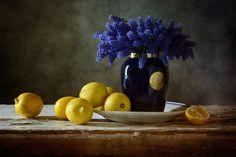 'Blaue Blumen Und Zitronen' von Nikolay Panov bei artflakes.com als Poster oder Kunstdruck $14.38 https://www.artflakes.com/de/products/blaue-blumen-und-zitronen Stilleben mit blauen Blüten in einer Vase und einige Zitronen, die um auf Vintage alten Tischplatte im Sommer Haus im Mai