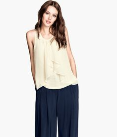 Airy sleeveless jersey top in chiffon. H&M. #PARTYINHM