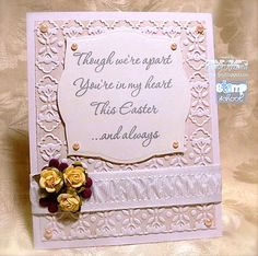 I love how the sentiment takes center stage in this card by Judy