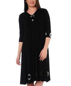Look what I found on #zulily! Black Circle Crepe Dress - Plus by Hüseyin KÜÇÜK #zulilyfinds