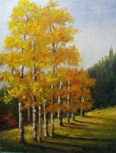 Aspen Trees  Landscape oil painting Barbara Haviland  EBSQ Artists Of Texas