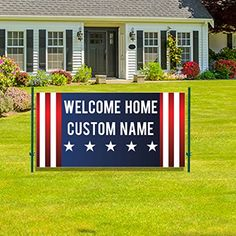 Custom Welcome Home Banner - 3 feet x 6 feet Vinyl Banner (Stars and Stripes) Welcome Home Banners, Vinyl Banners, Lettering, Amazon, Stars, Amazons, Riding Habit, Drawing Letters, Sterne