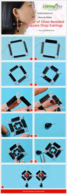 Instructions on How to Make a Pair of Glass Beaded Square Drop Earrings from LC.Pandahall.com