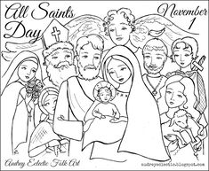 With All Saints Day just around the corner, I thought it was time for a little fun around here! Yesterday I started sketching on this little drawing packed full of beloved saints (St. Therese, St.