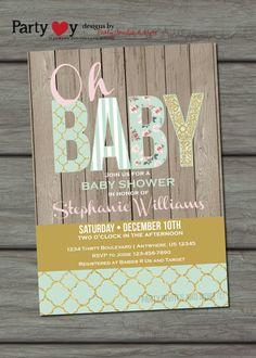 Shabby Chic Baby Shower Invitation Mint and by PartyInvitesAndMore