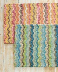 Garnet Hill Frequency Hooked Wool Rug, Teal Multi