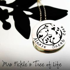 Tree of life Personalised Hand Stamped Sterling by MrsFickle Hand Stamped Jewelry, Name Necklace, Tree Of Life, Personalized Jewelry, Cufflinks, Hands, Trending Outfits, Unique Jewelry, Sterling Silver