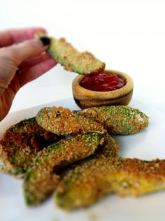 You asked for it early so here it is!!!   Healthy Avocado Fries and Skinny Sweet-with-Heat Chipotle Dipping Sauce