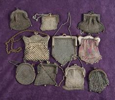 Antique silver purses