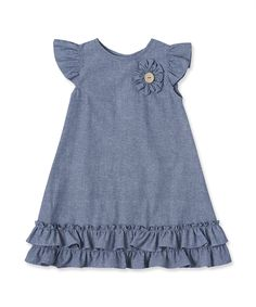 Idea for dress for Mad Cotton Frocks For Kids, Frocks For Girls, Little Girl Dresses, Kids Dress Wear, Kids Gown, Girls Denim Dress, Kids Wear, Girls Frock Design, Baby Dress Design