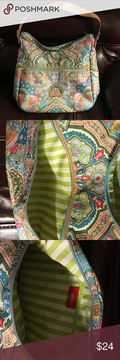 """EUC OILILY ZIPPERED PURSE LARGE GORGEOUS Beautiful OILILY Handbag looks new. Zipper inside on side and two pockets on the other side. Zippered pocket on outside front and back. Large 15 x 11.5"""". Gorgeous washable outside. The colors in the picture are accurate. Oilily Bags Totes"""