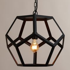 Will spray paint this gold. Black Metal Hexagon Pendant Lamp | World Market