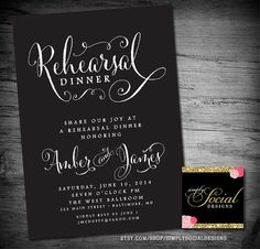 Black and White Rehearsal Dinner Party Invitation Printable Calligraphy