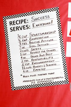 "PE Idea:   ""Recipe: Success Serves: Everyone!"""