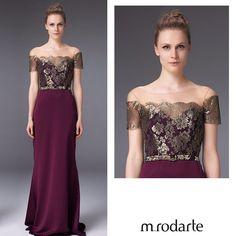 M.Rodarte-Vestido longo com aplicação de renda francesa e decote ombro a ombro, deixando o look super elegante.