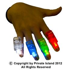 Private Island Party  - 1 Dozen Finger Lights Mix Colors 9023, $2.40DZ - $3.80DZ. Our laser finger beams are a popular novelty item loved by young and old. Secure the beam around your finger with the rubber band and press the button to create your own laser light show! These fingerlights work perfectly to enhance a wizard costume by shooting magic from your fingertips.
