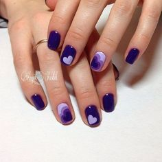 Blue manicure, Blue nails ideas, Contrast nails, Dark blue nails, Heart nail designs, Hearts on nails, Interesting nails, Jeans nails