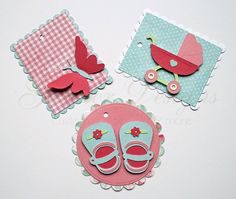 gift tags baby girl pink aqua by gautierdesigns on Etsy, $5.00