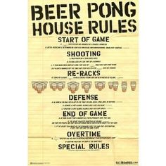 Beer Pong House Rule 24x36 Poster Print Poster Print, 24x36 Poster Print, 24x36 (Kitchen) http://www.amazon.com/dp/B002GBL7U8/?tag=wwwmoynulinfo-20 B002GBL7U8