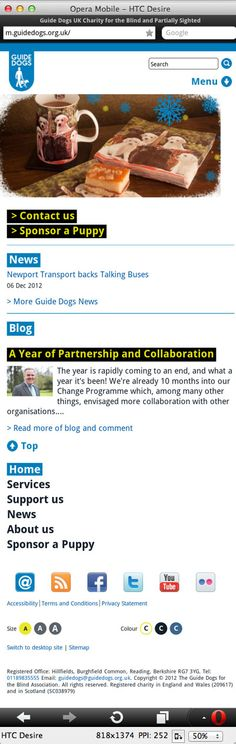 Guide Dogs For The Blind - mobile site homepage