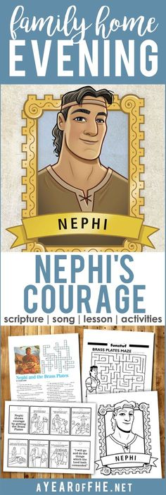 A Year of FHE // A great Family Home Evening lesson all about Nephi's courage when he retrieved the Brass Plates from Laban. Includes scripture, song, lesson and four different printable activities to choose from. The little story booklet is so cute! #lds #familyhomeevening #nephi