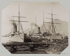 """GWW   R.M.S. """"Dunottar Castle"""" and """"Arundal Castle"""" in Cape Town docks, GWW, c. 1890 - c. 1896   Cape Town, Old Photos, Sailing Ships, South Africa, Photographs, Castle, Boat, History, Old Pictures"""