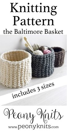 Easy Knit Basket Pattern Easy pattern for knitted baskets Pattern includes small medium and large basket Knitting pattern available on peonyknits Best Picture For knitting projects For Your Taste Beginner Knitting Projects, Easy Knitting Patterns, Yarn Projects, Free Knitting, Crochet Projects, Crochet Patterns, Easy Knitting Ideas, Loom Knitting For Beginners, Knitting Room