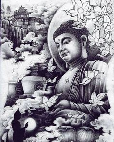 Asian style Buddha art illustration black and white tattoo Buddha Tattoo Design, Buddha Tattoos, Body Art Tattoos, Tattoo Drawings, Sleeve Tattoos, Hand Tattoos, Tatoos, Buddha Drawing, Buddha Painting