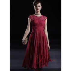 Elegant Tea-length Lace Red Vintage Dresses EDU80936