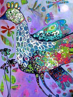 Flying High II. Acrylic on canvas by Gail Dell. (My virtual good friend)