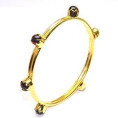 Granet Gemstone Brass Bangle