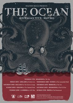 Cool octopus illustration on this tour poster for The Ocean. Octopus Illustration, Tour Posters, Graphic Design Posters, Concert Posters, Screen Printing, Sketches, Ocean, Artist, Prints