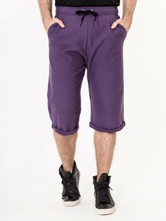 Soft and comfortable tracksuit shorts complete with thick drawstring feature and turn-up fabric below the knees. Available in a choice of black, purple or grey. Harem Shorts, Dance Wear, Hoods, Bermuda Shorts, Jumpsuit, Unisex, Purple, Grey, Fabric