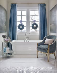 This Luxurious Atlanta Home Shimmers with Blue and Lavender Holiday Decor