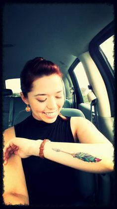 Loving my arrow tattoo with the jewel feathers! - Loving my arrow tattoo with the jewel feathers! – Loving my - Feather Arrow Tattoo, Arrow Tattoo Design, Arrow Tattoos, Feather Tattoos, Forearm Tattoos, Body Art Tattoos, Sleeve Tattoos, Arrow Tattoo On Forearm, Tatoos